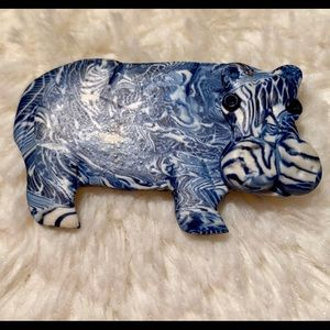 Vintage 1980s Hippo Brooche Blue and White